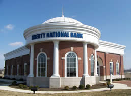 columbus, ohio Liberty national bank aluminum curved sheet metal cornice system. prefabricated standing seam sheet metal dome dome
