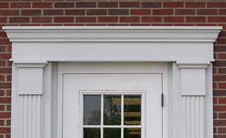 door aluminum pediment
